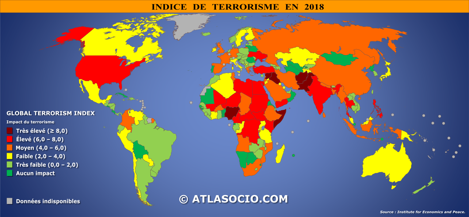 carte du monde indice de terrorisme. Black Bedroom Furniture Sets. Home Design Ideas