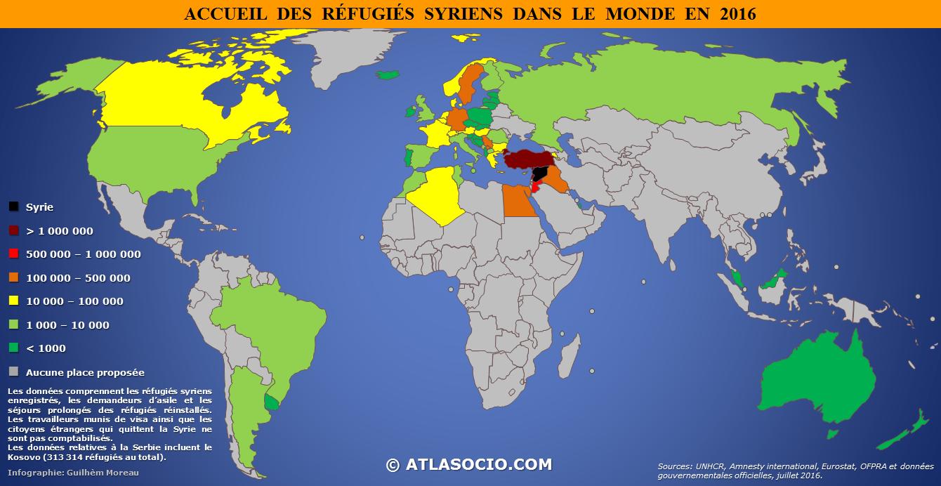 syrie carte du monde Réfugiés syriens : quels États les accueillent ?