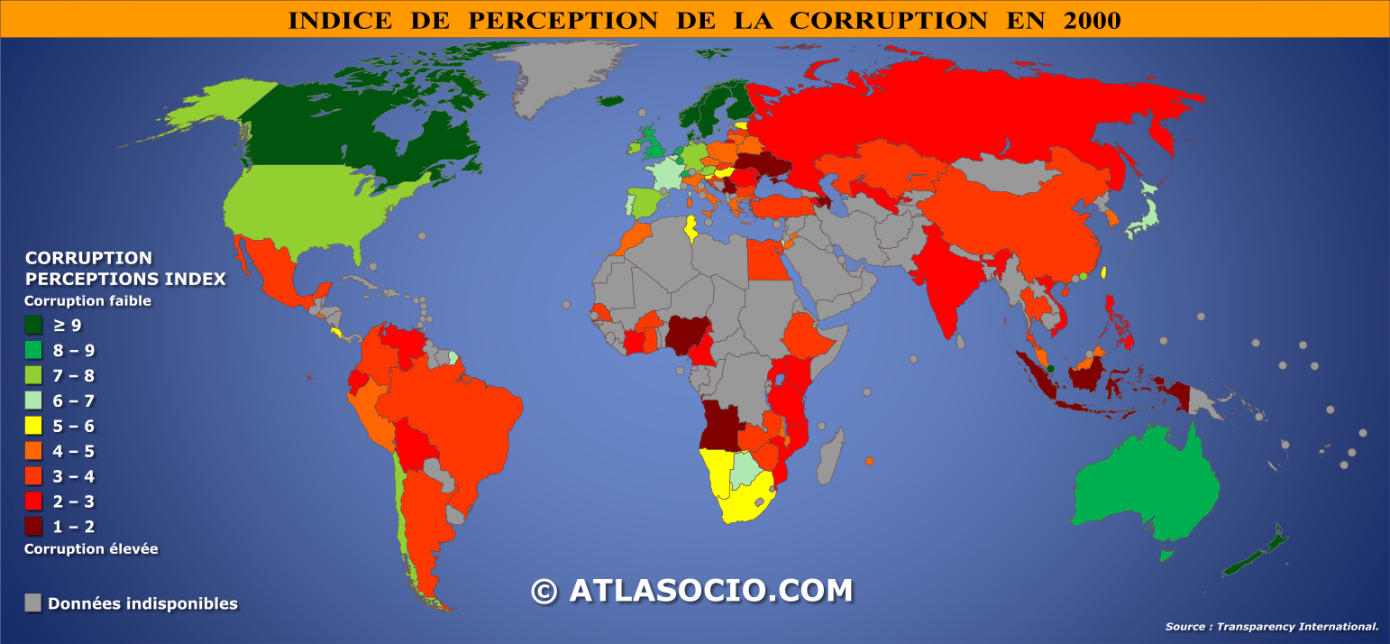Cartes relatives à l'indice de perception de la corruption