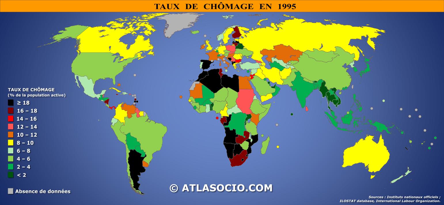 Carte du monde : taux de chômage   Atlasocio.com