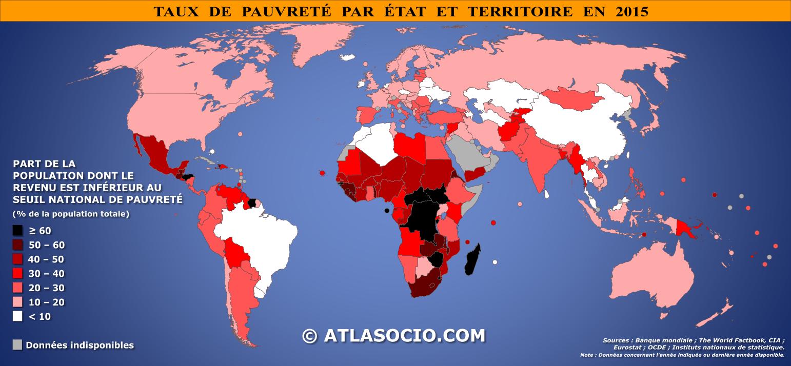 Carte Du Monde Taux De Pauvrete Atlasocio Com