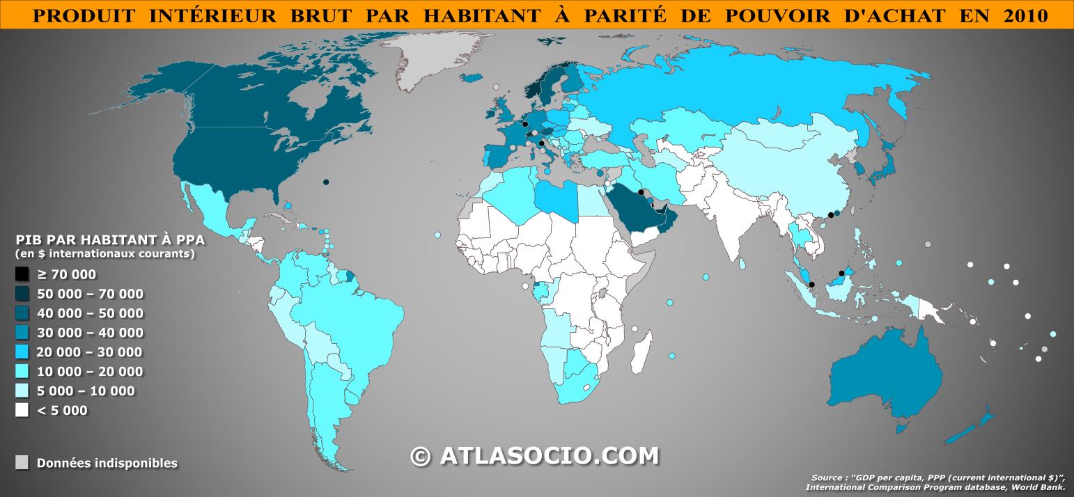 Carte Du Monde Produit Intérieur Brut Pib Par Habitant à