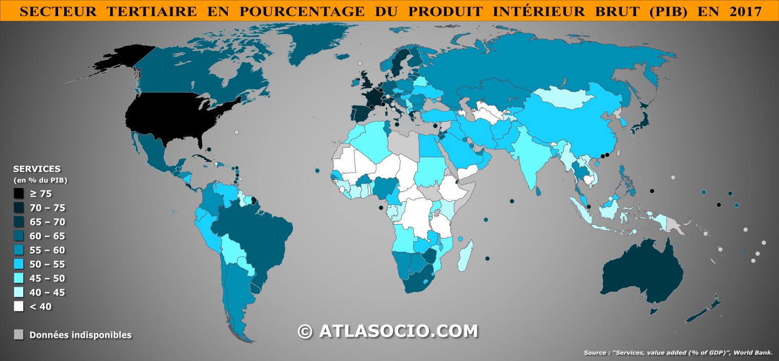 Carte Du Monde Secteur Tertiaire En Du Pib Atlasociocom