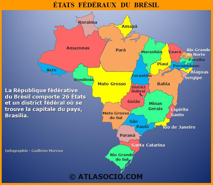 Carte Administrative Bresil.Cartes Du Bresil Politique Demographie Economie Et Societe