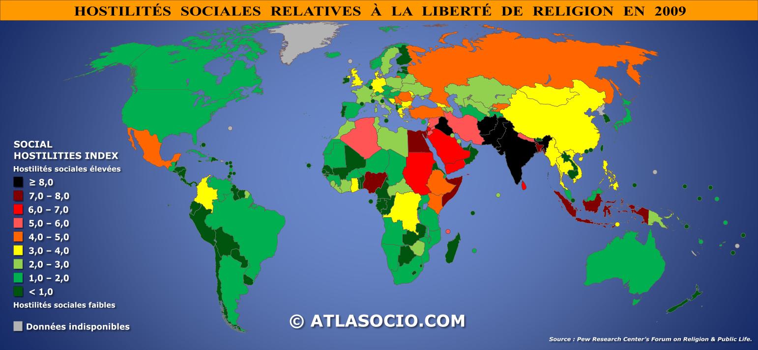 Carte Du Monde Des Religions.Carte Du Monde Hostilites Sociales Relatives A La Liberte