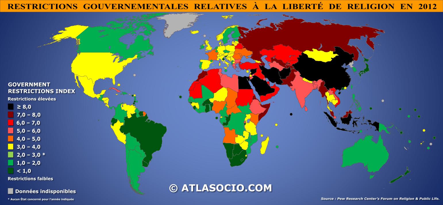 Carte Du Monde Des Religions.Carte Du Monde Restrictions Gouvernementales Relatives A