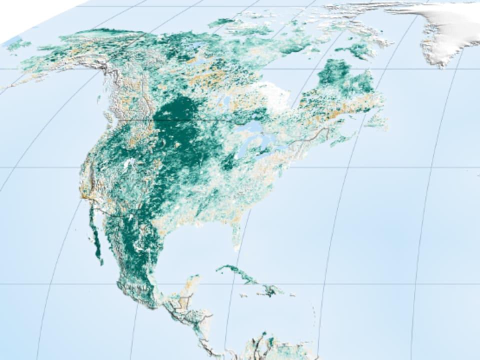 En Amérique du Nord, le verdissement provient en grande partie de l'agriculture.